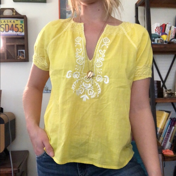 J. Crew Tops - J. Crew Yellow Embroidered Top
